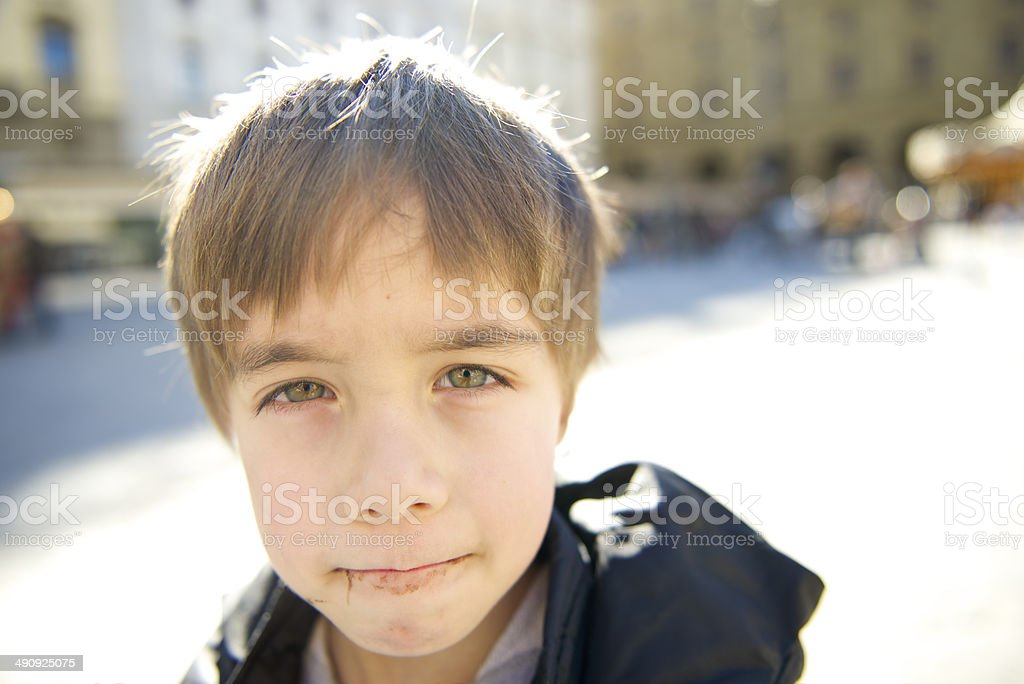 Child after choccolate royalty-free stock photo