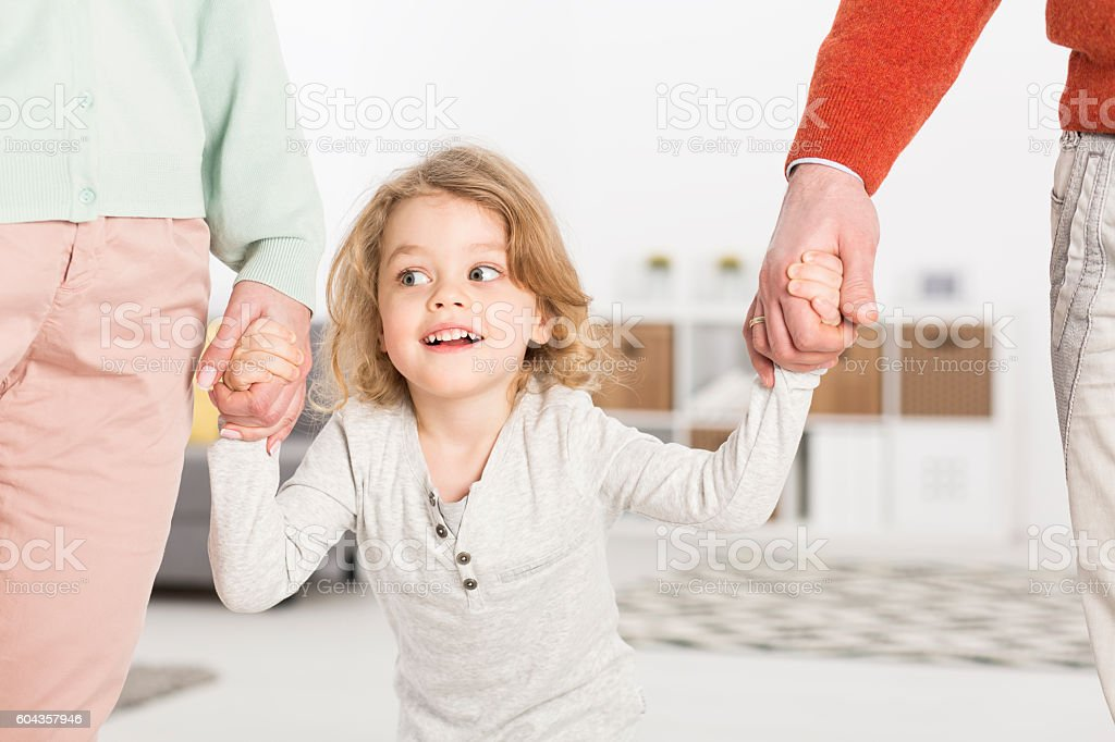 Child always needs support of parents stock photo