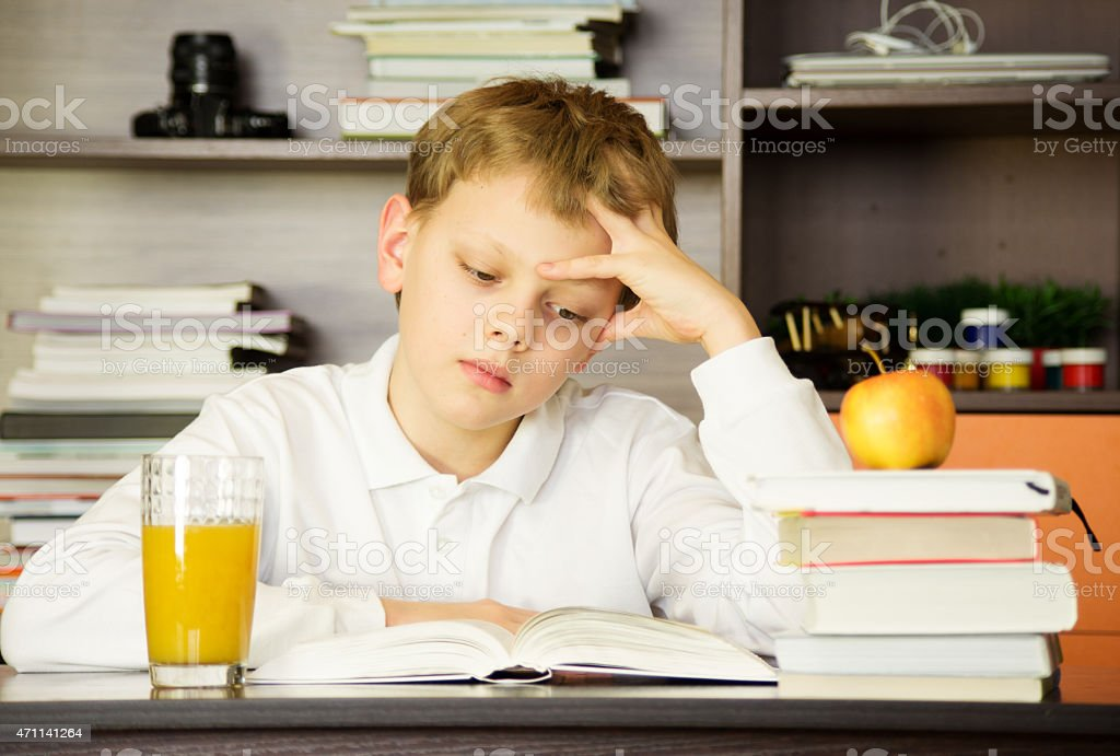 Child and book stock photo