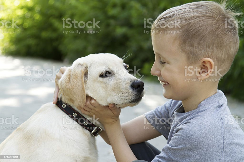 child and dog royalty-free stock photo
