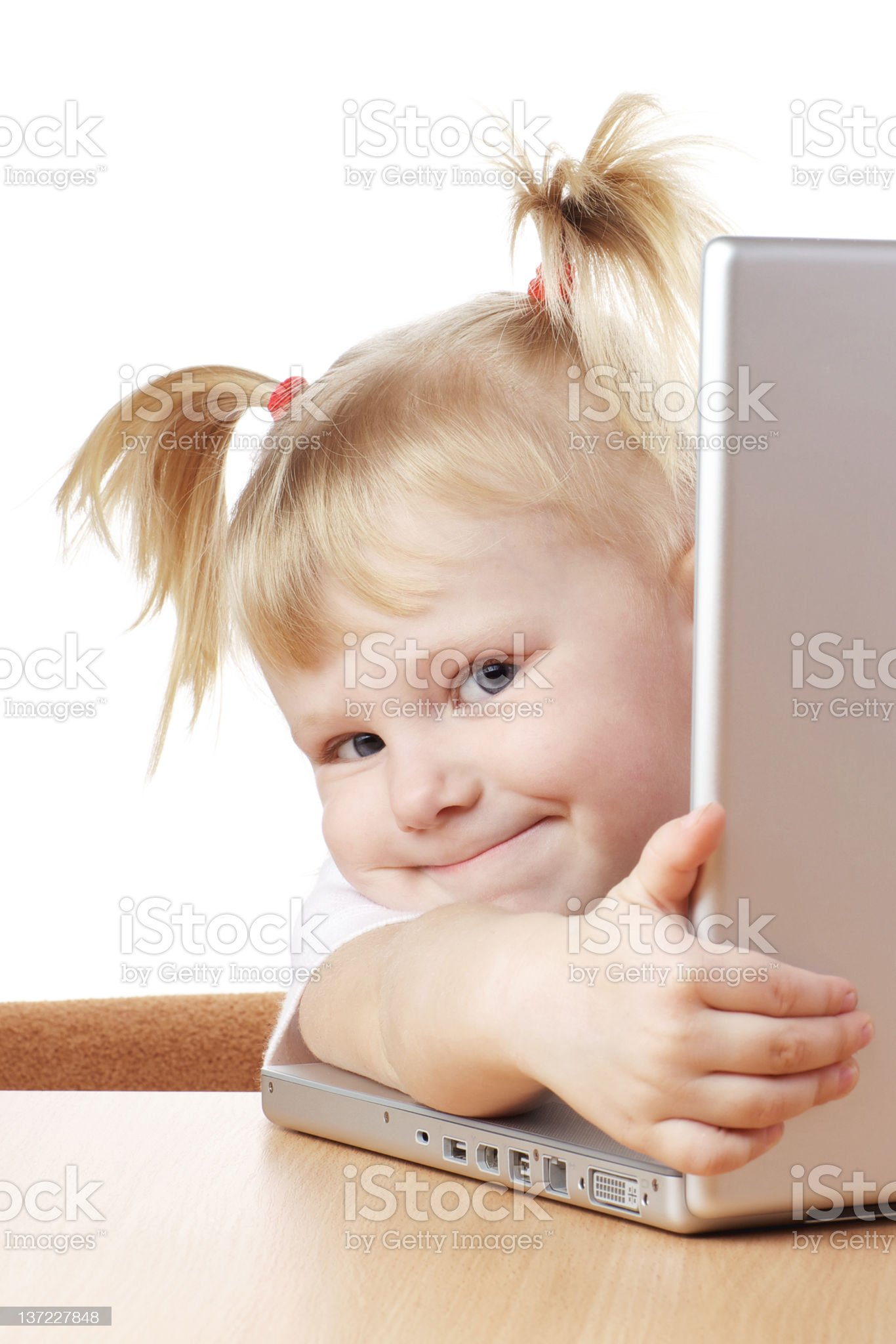 child and laptop royalty-free stock photo