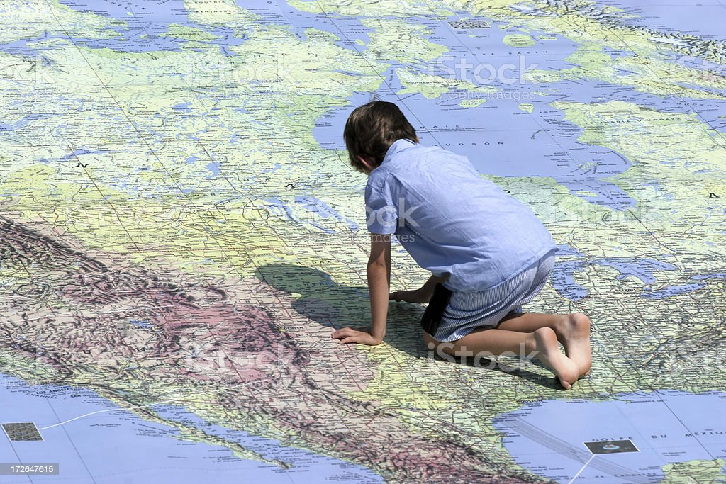 Child and Map stock photo