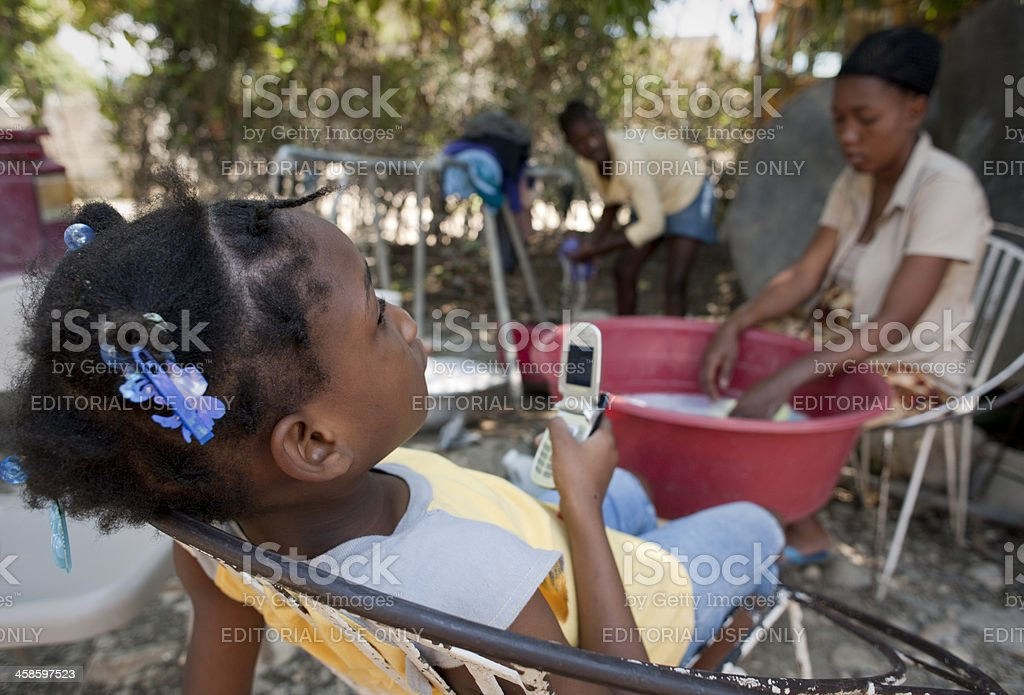 Child and mother in refugee camp stock photo