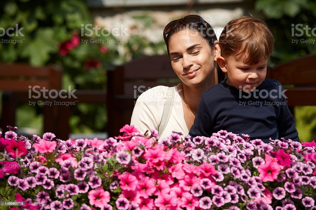 Child and mother outdoor in spring royalty-free stock photo