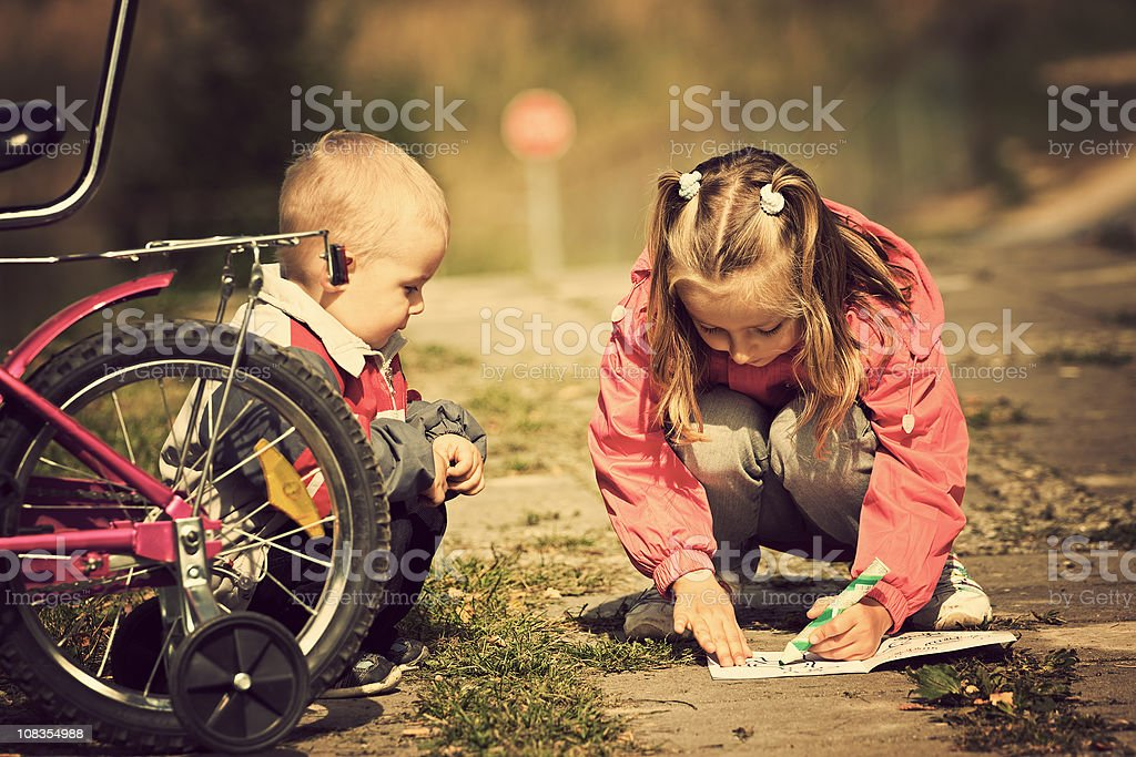Child and painting book royalty-free stock photo