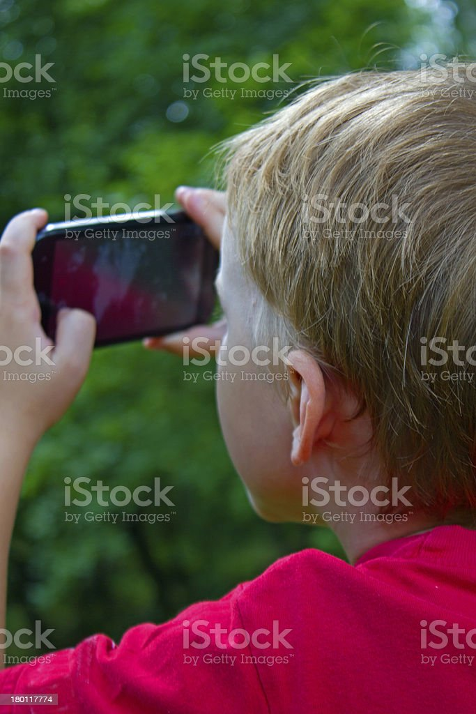 child and phone royalty-free stock photo
