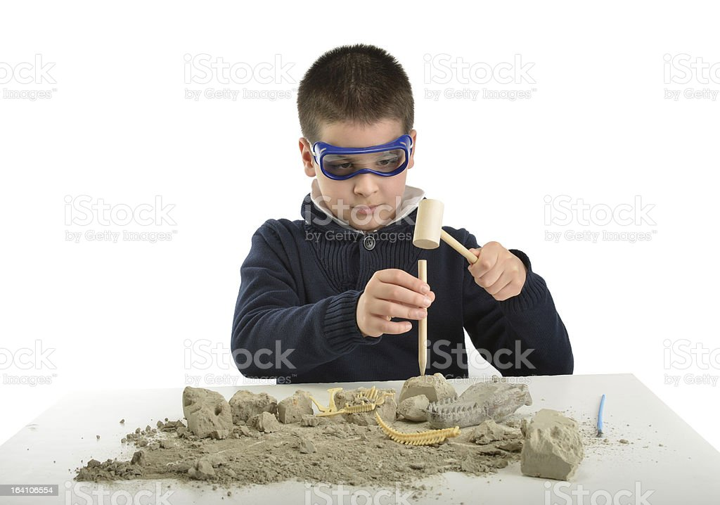 Child Archaeologist stock photo