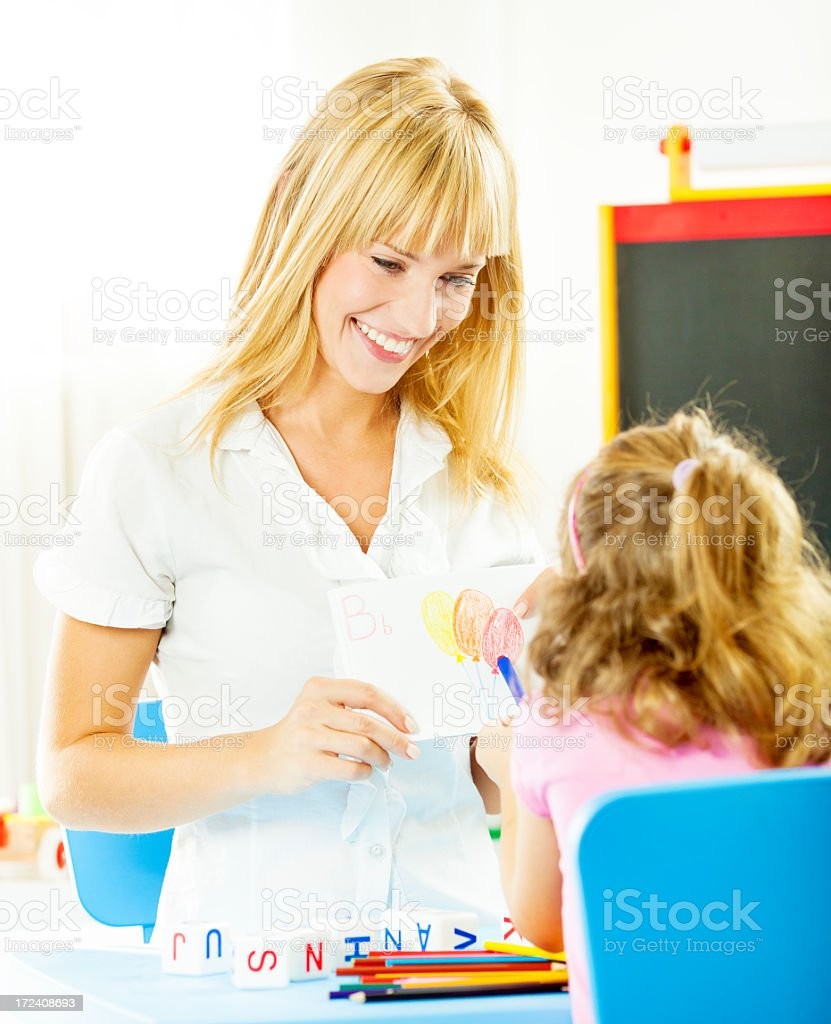 Child at Speech Therapy. royalty-free stock photo
