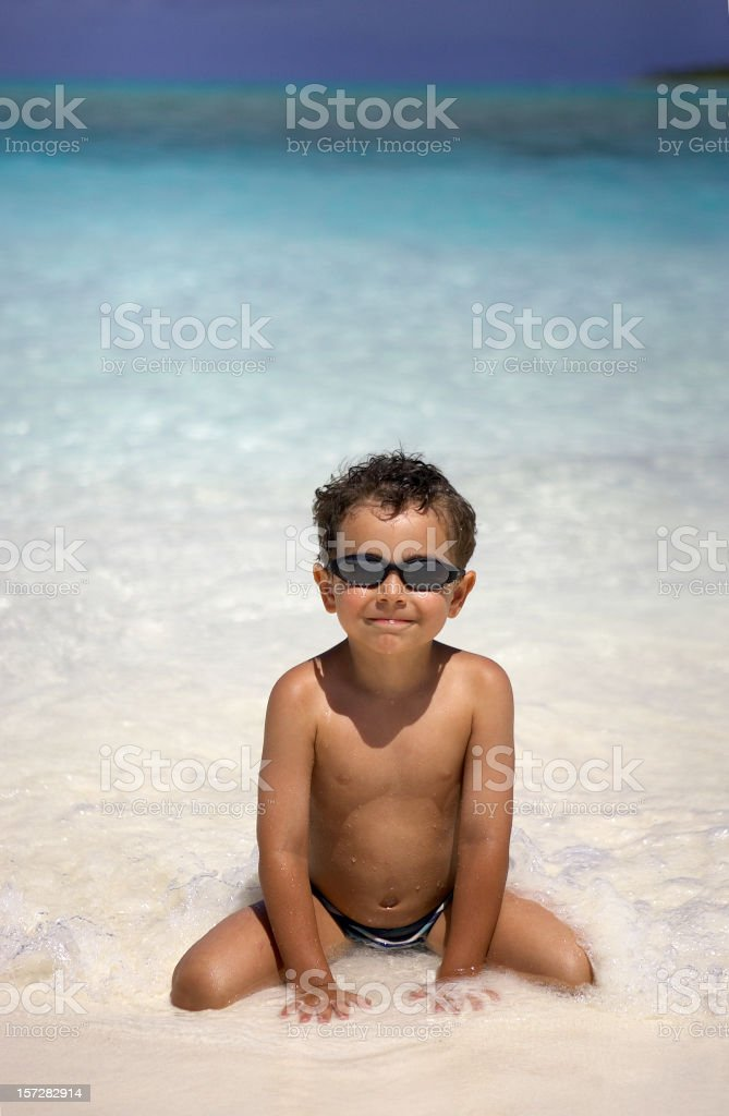 Child at the Beach Cocos Island royalty-free stock photo
