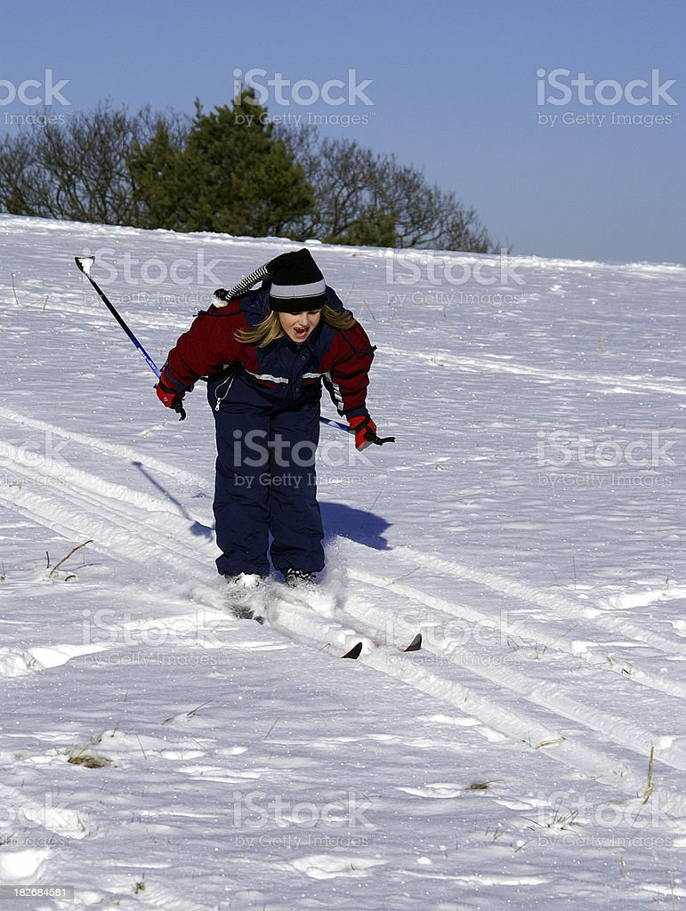 Child at the cross-country Skiing royalty-free stock photo