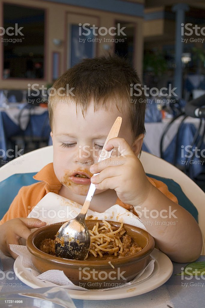 child at the restaurant royalty-free stock photo