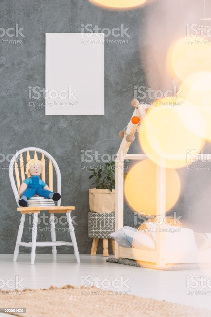 Child bedroom with floor bed stock photo