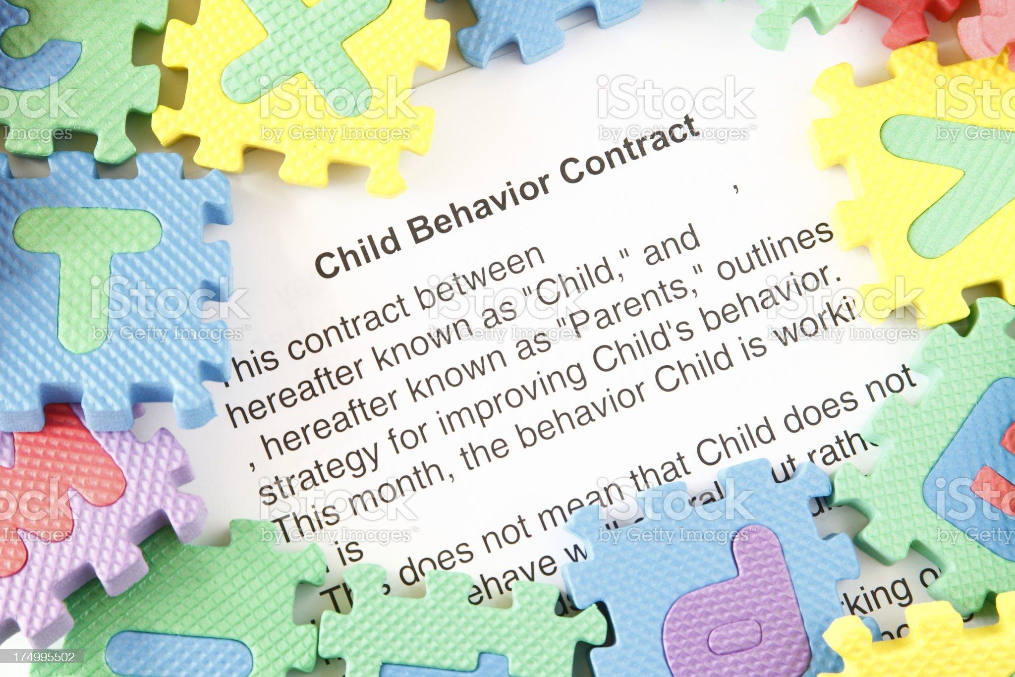 Child Behavior Contract royalty-free stock photo