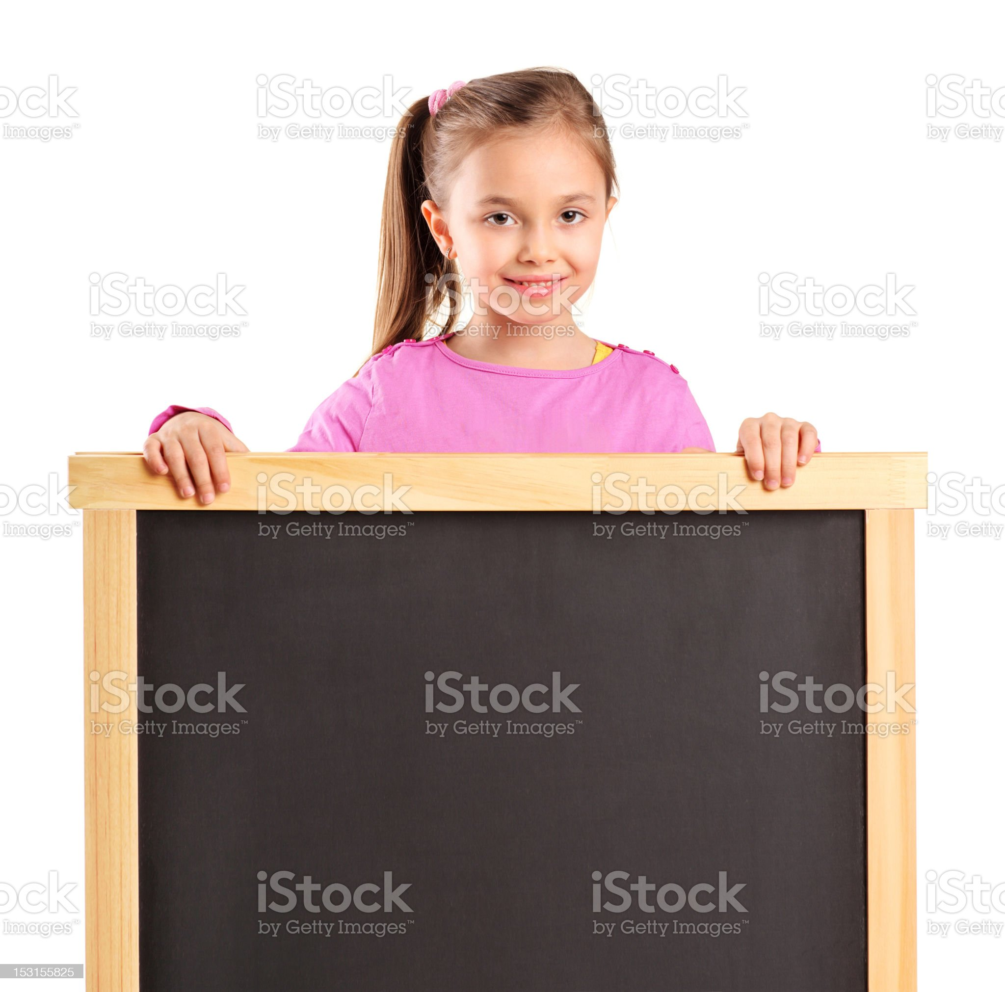 Child behind empty school board royalty-free stock photo