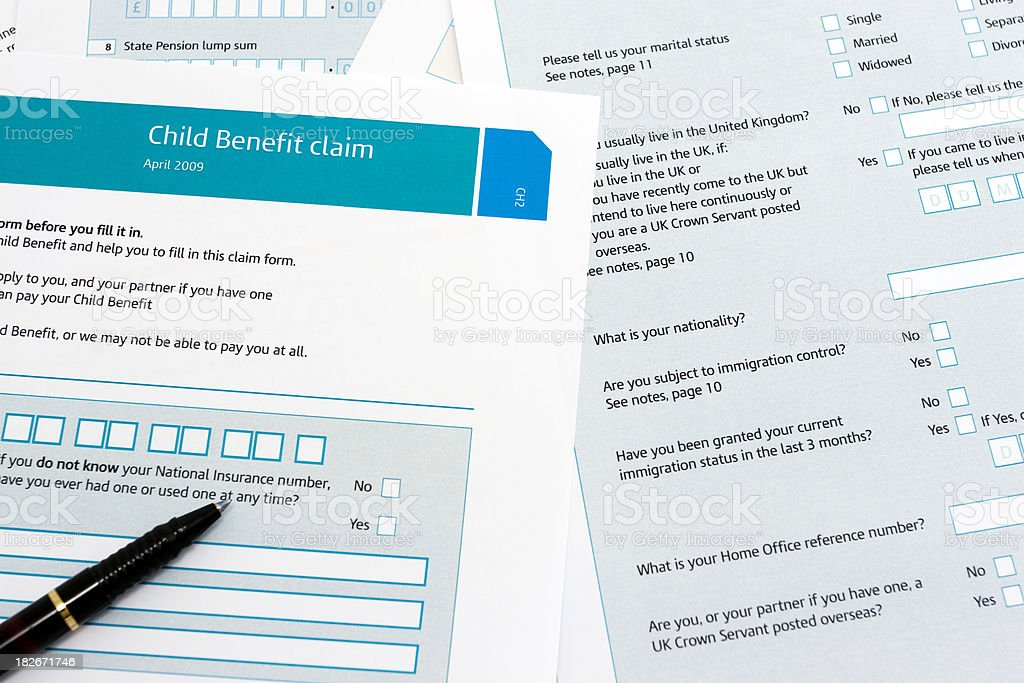 Child benefit form royalty-free stock photo