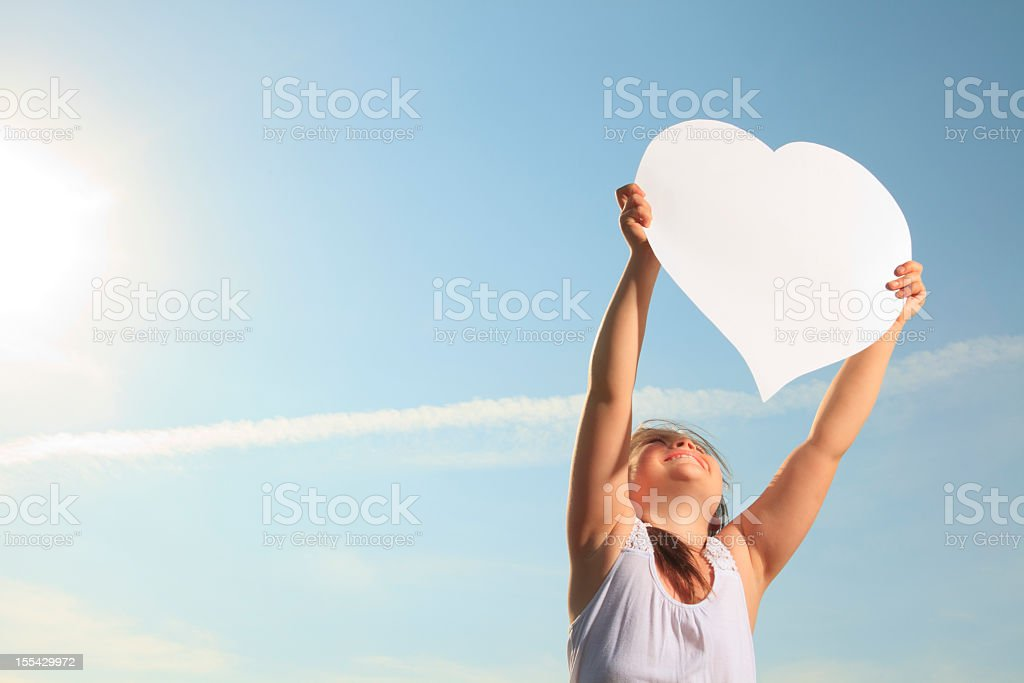 Child Big Heart on the Air royalty-free stock photo