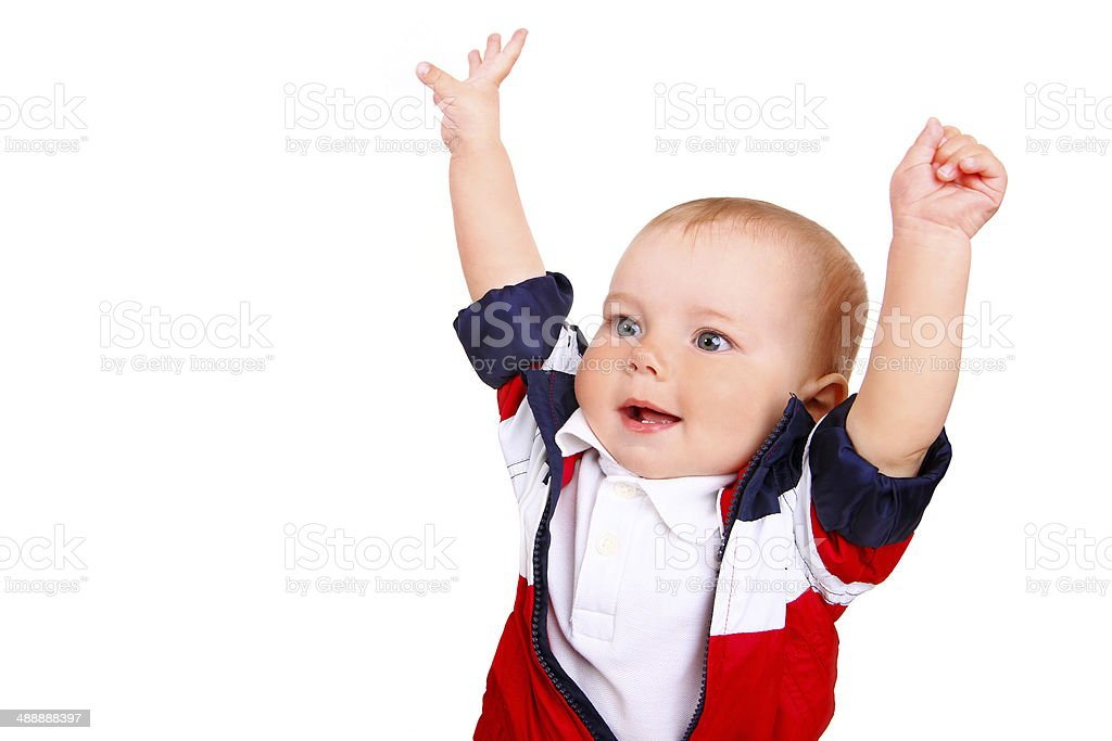 child boy with hands up isolated on white background stock photo