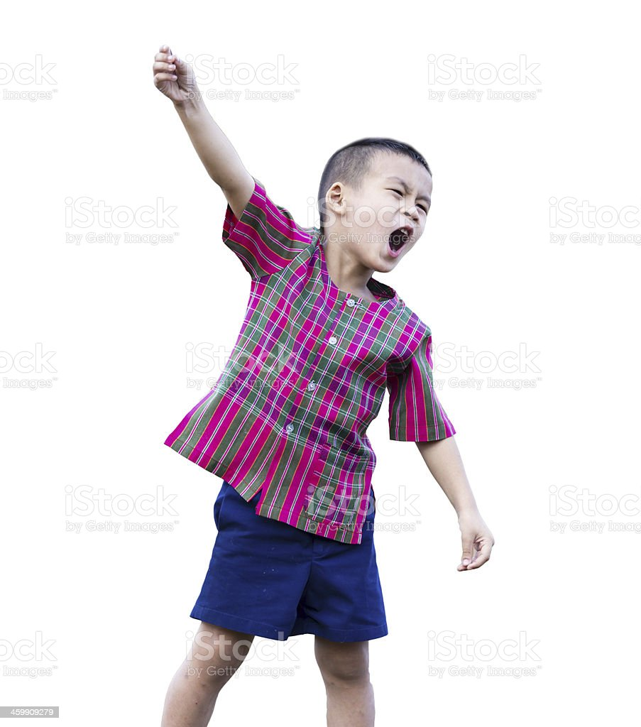 Child boy with hands up stock photo