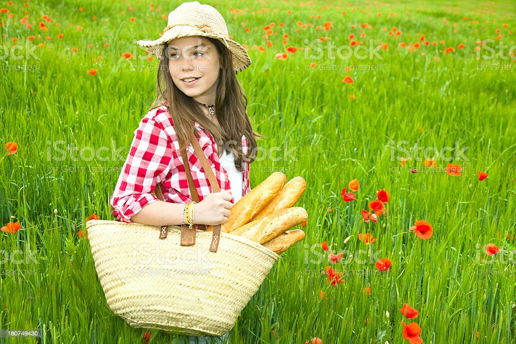 Child, bread, wheat field royalty-free stock photo