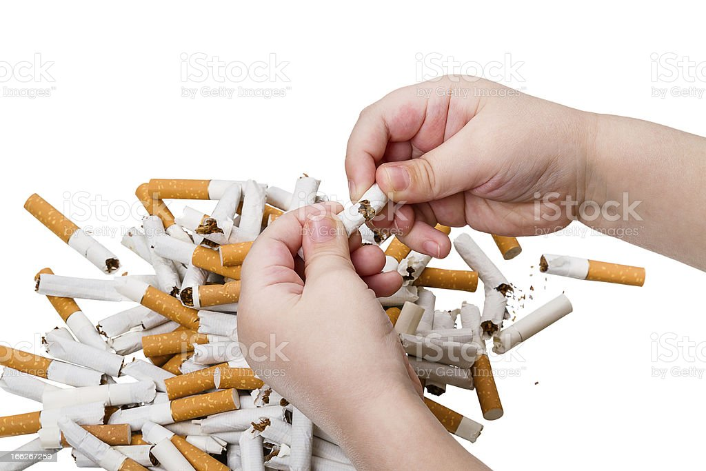 Child breaks a cigarette on white royalty-free stock photo