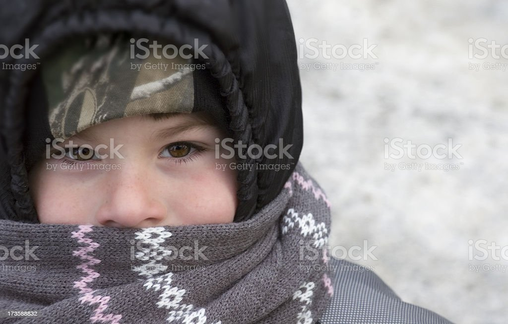 Child Bundled for Cold Winter Weather stock photo