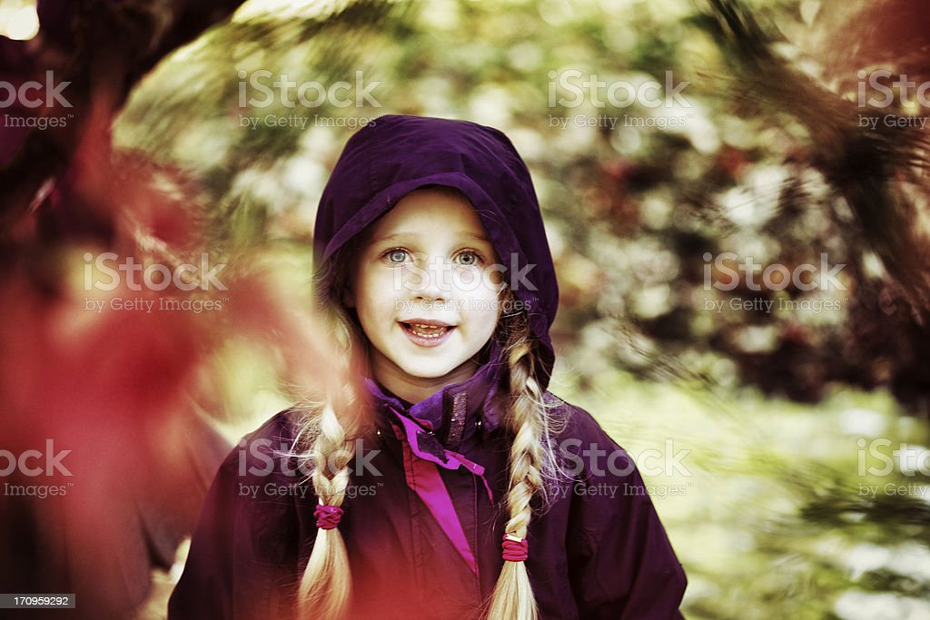 Child by a Japanese Maple royalty-free stock photo