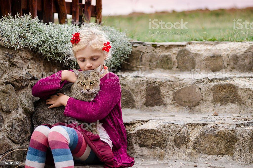 child caressing domestic cat stock photo