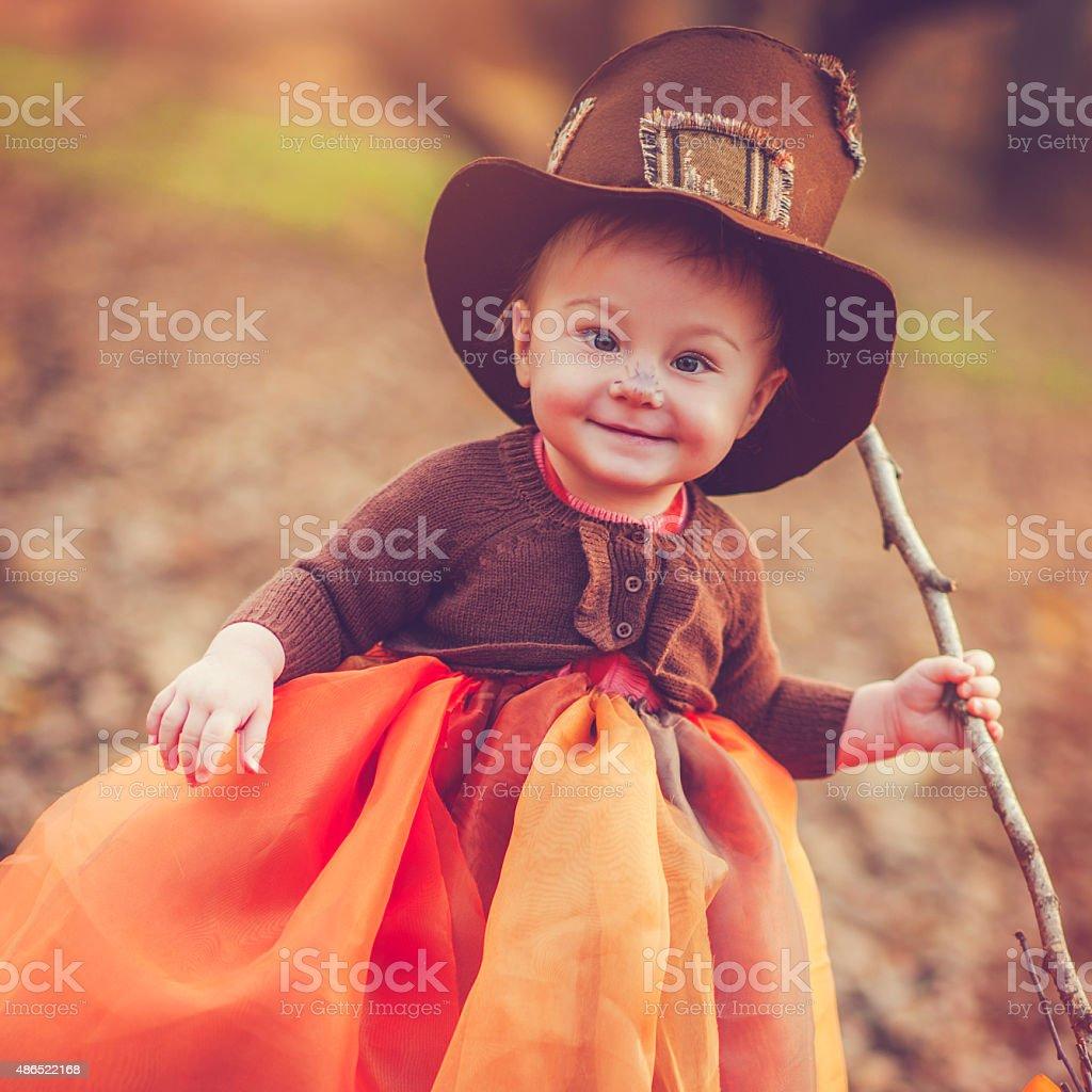 Child celebrating Halloween stock photo