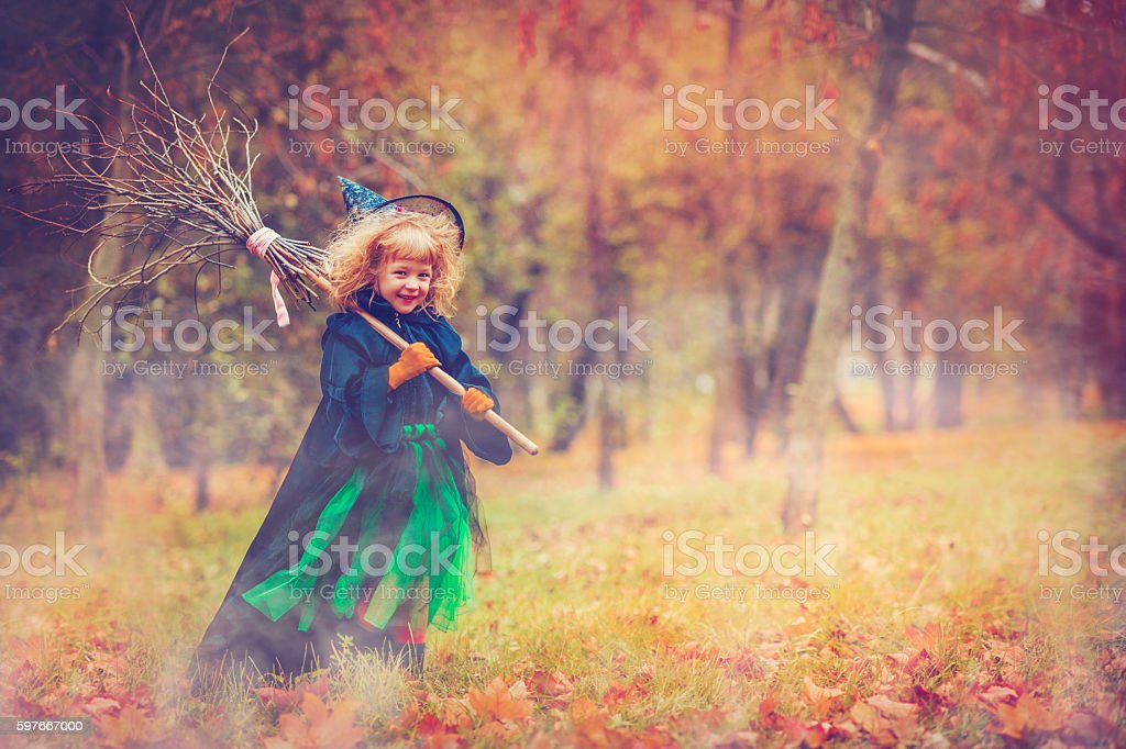 Child celebrating Halloween stock photo