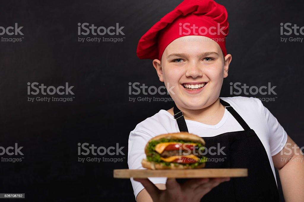 Child Chef and Hamburger stock photo