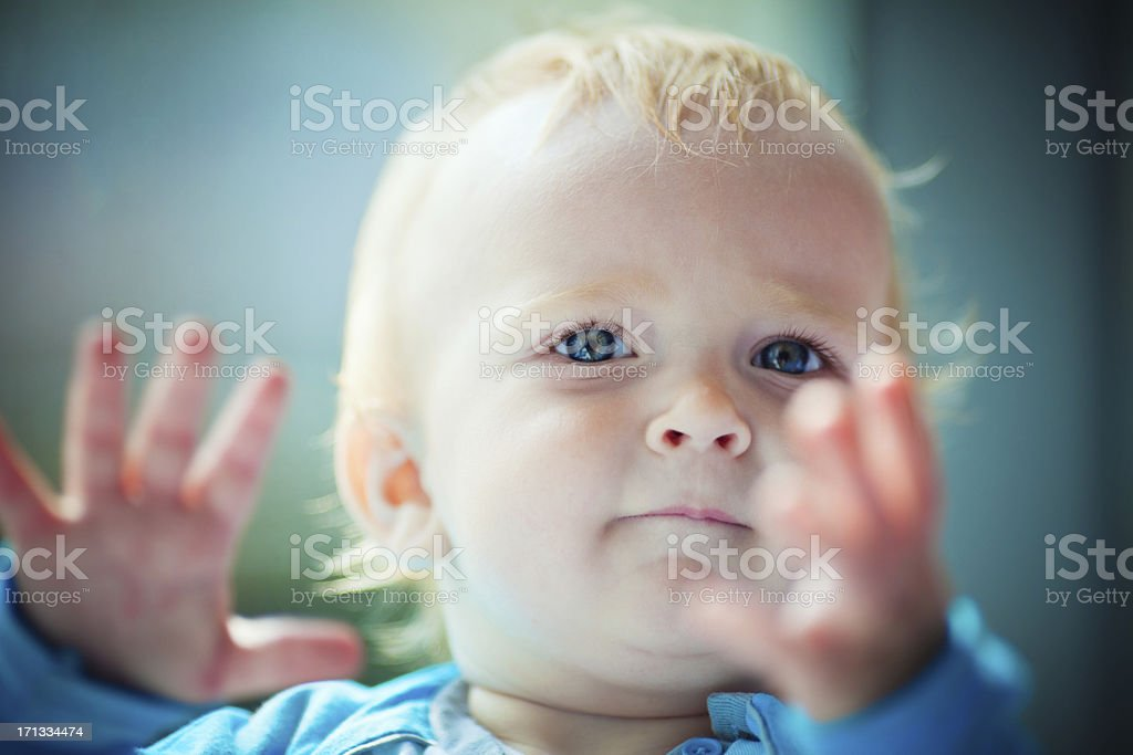 Child clapping hands stock photo