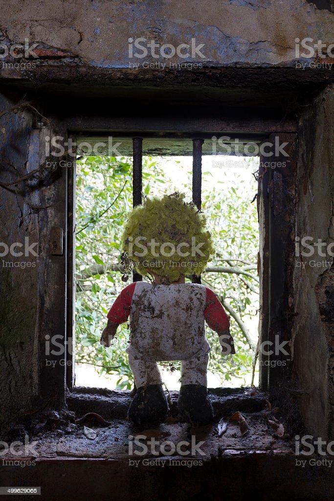 child clown prisoner stock photo