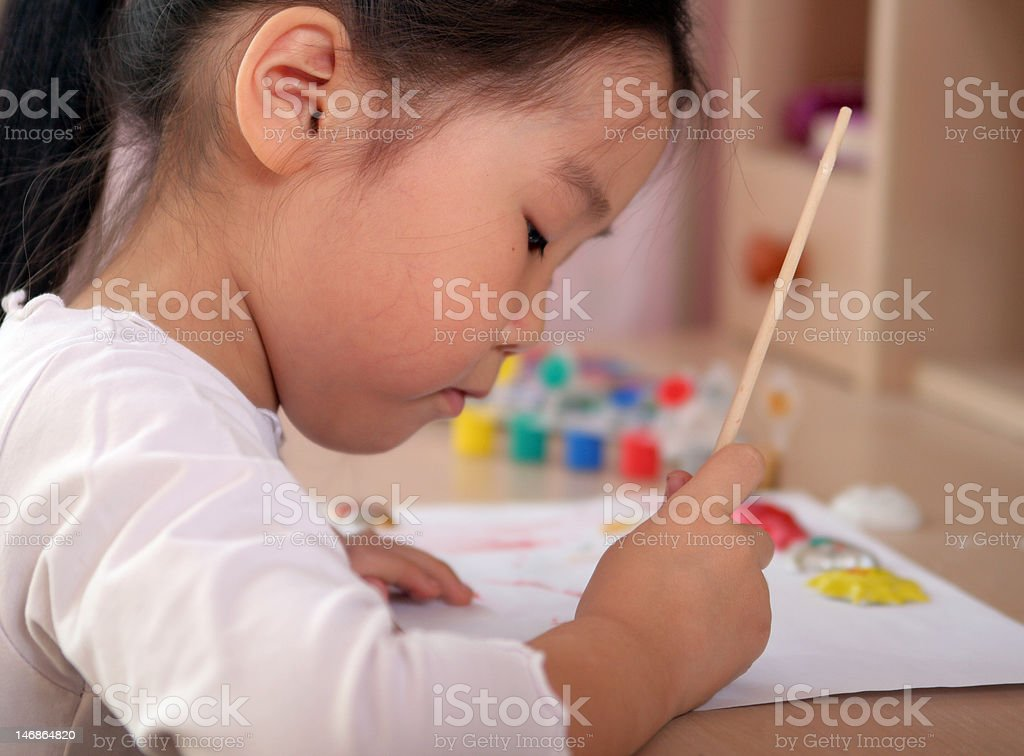 Child coloring royalty-free stock photo