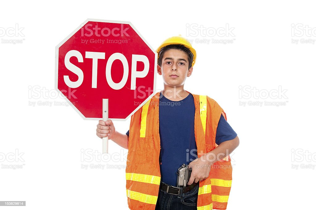 Child construction worker stock photo