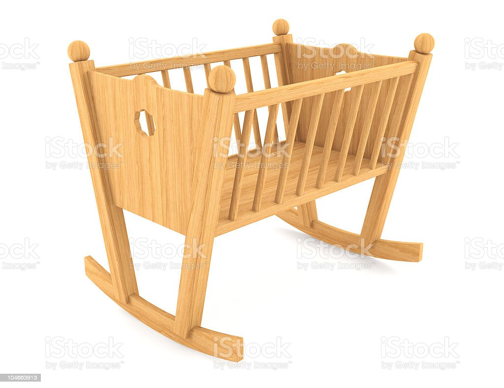 child crib isolated on white background with clipping path royalty-free stock photo