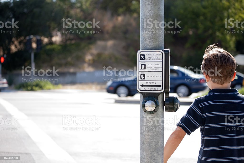 Child Crossing the Street stock photo
