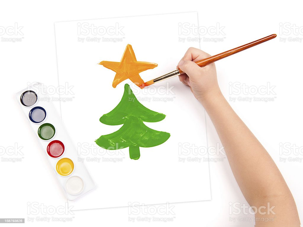 child draw a fir tree royalty-free stock photo