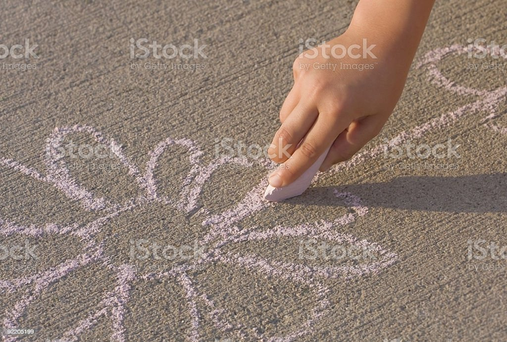 Child drawing flower with chalk vector art illustration