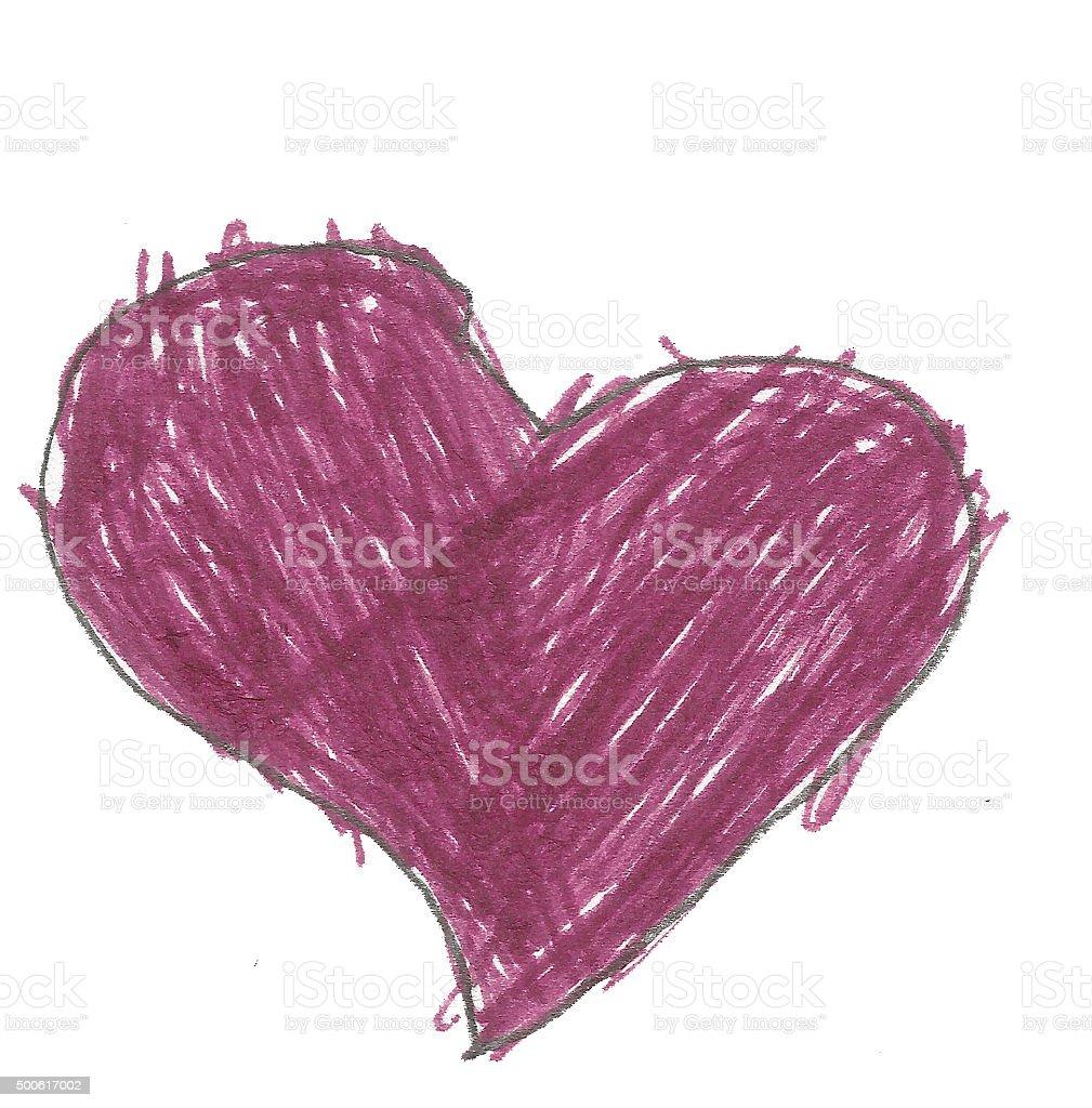 child drawing heart shape stock photo