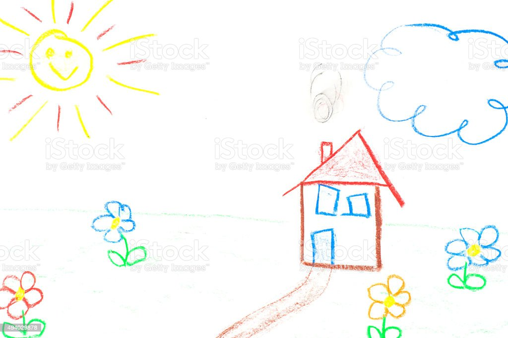 child drawing house and flowers stock photo