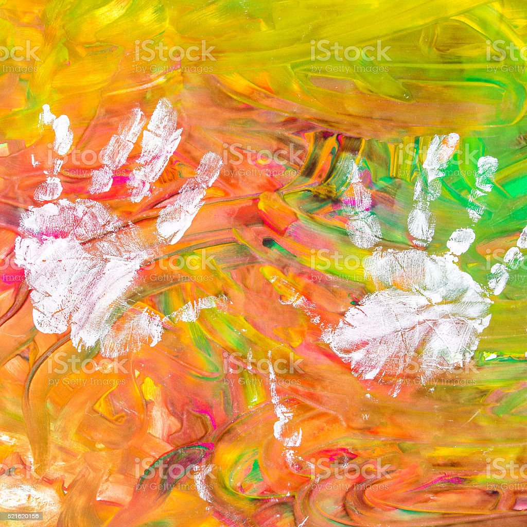 Child drawing painting with his white hands on colorful background vector art illustration