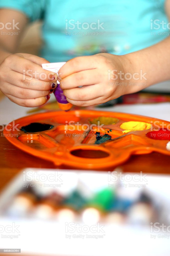 Child drawing stock photo