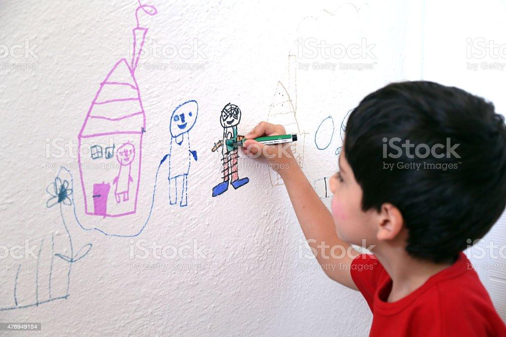 Child drawing wall stock photo