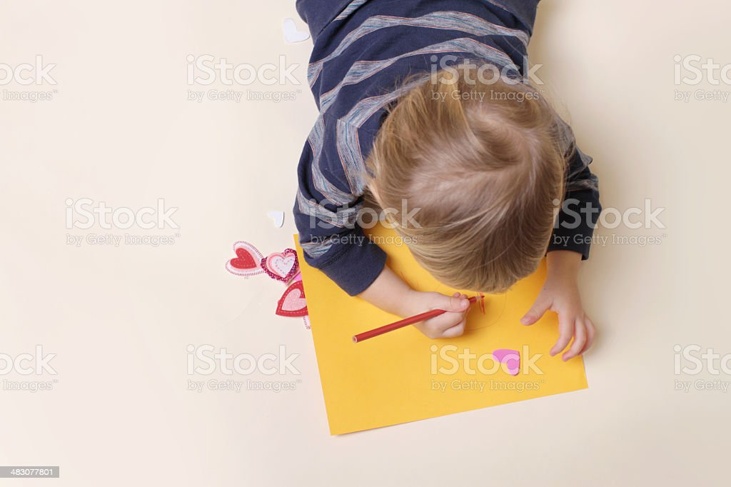 Child Drawing with Crayon, Arts stock photo