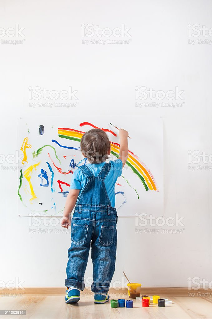 child draws ink on paper royalty-free stock photo