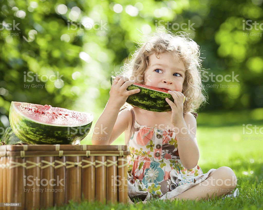 Child eating watermelon royalty-free stock photo