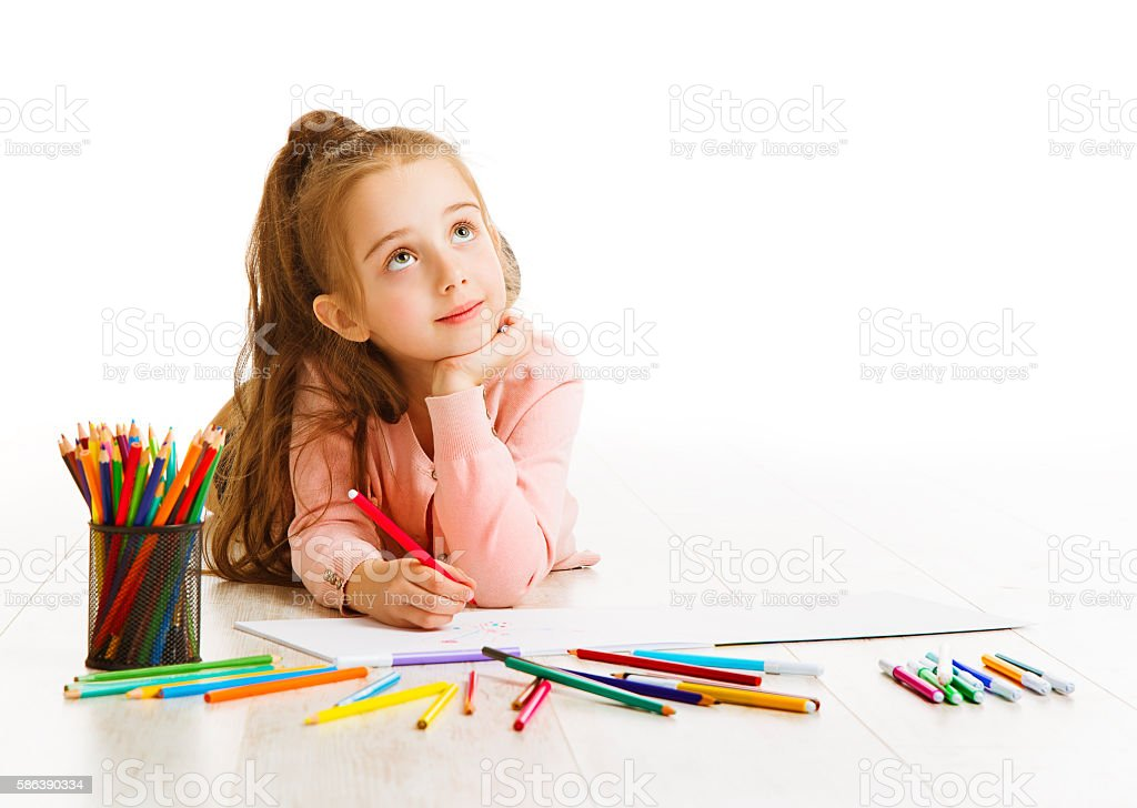 Child Education Concept, Kid Girl Drawing Dreaming School, White stock photo
