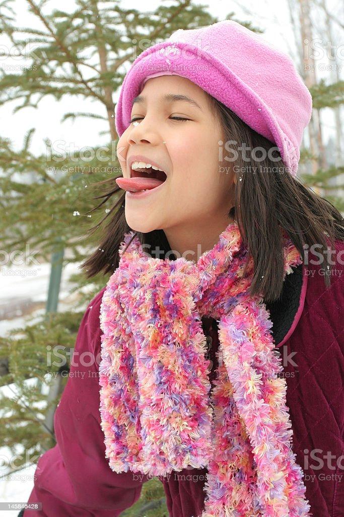 Child enjoying winter royalty-free stock photo