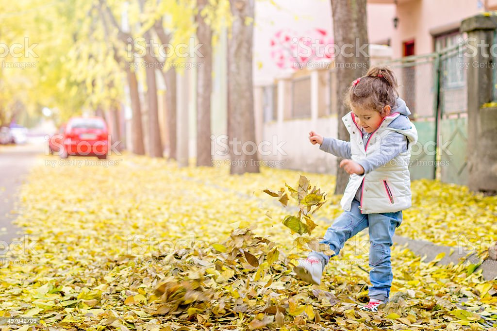child enjoys kicking with leaves stock photo