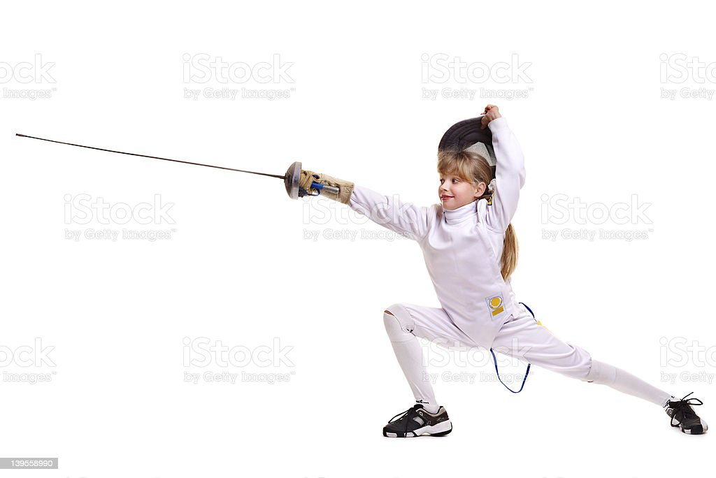 Child epee fencing lunge. royalty-free stock photo